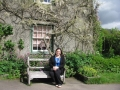 Cathy, happy outside Hill Top Farm--Early Lake District home of Beatrix Potter